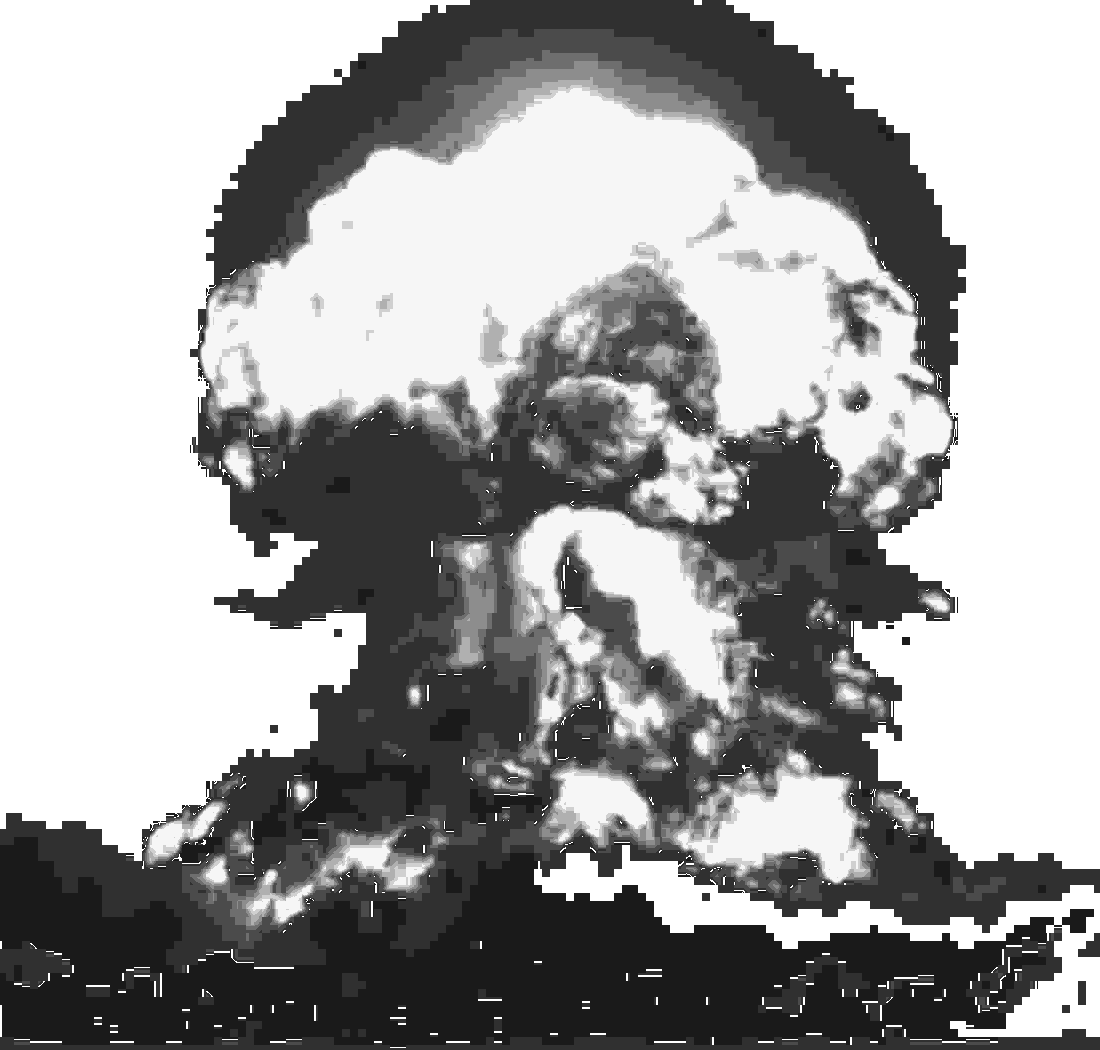 A bigass nuclear explosion, mushroom cloud and all.