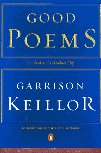 """Good Poems"" cover, a blue field with the title embossed in gold, the author's name underneath it."