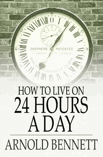 """How to Live on 24 Hours a Day"" cover, featuring an analogue clock with Roman numerals on a brick wall fading into a gradient."