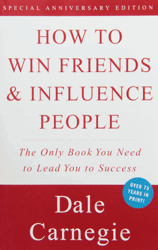 """How to Win Friends and Influence People"" cover, a white block in the middle surrounded by red, the typeface plain on it."