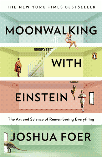 """Moonwalking with Einstein"" cover, featuring a four – story house interior with different – coloured wallpapers featuring stock photo characters standing about."