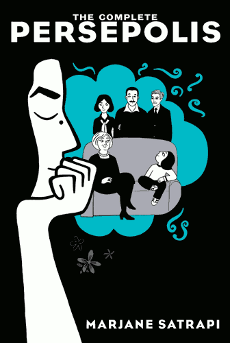 """Persepolis"" cover, featuring a headshot of Marjane Satrapi looking contemplative in front of her family."