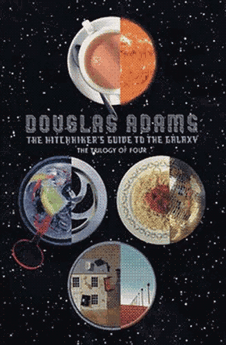 "The cover of a four – of edition of ""The Hitchhiker's Guide to the Galaxy"" series. It features a starry backdrop with 8 objects cut in half within 4 different circles."