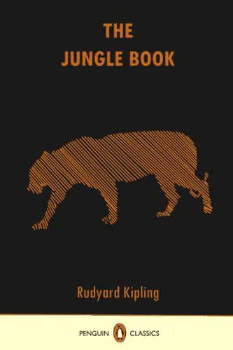 """The Jungle Book"" cover, a black field with an abstract representation of a tiger composed of thin diagonal orange stripes."